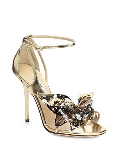 Mantle Jeweled Flower Metallic Leather Sandals