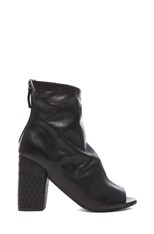Open Toe Leather Ankle Booties in Black
