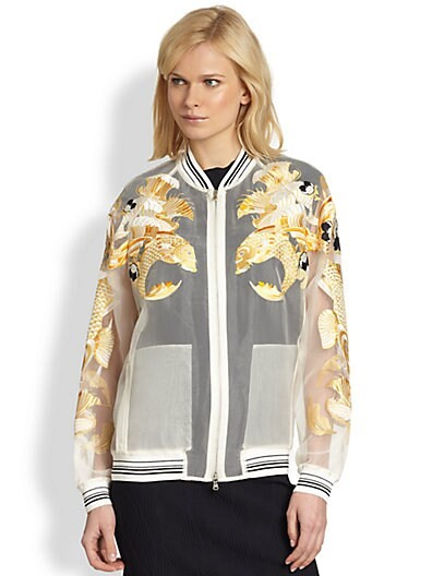 Fish Embroidered Sheer Organza Bomber Jacket