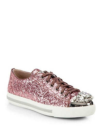Glitter Jeweled Lace-Up Sneakers