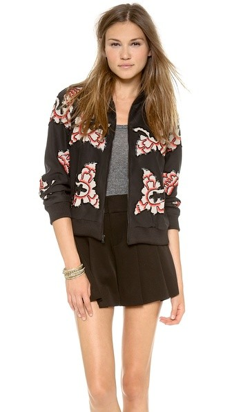 Felisa Embellished Zippered Jacket