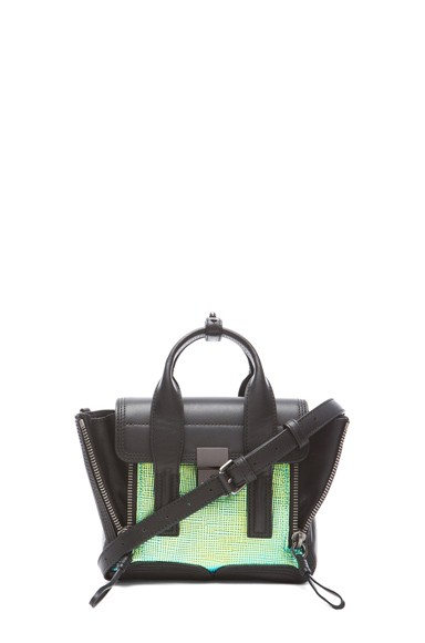 Mini Pashli Satchel in Blue-Green & Black