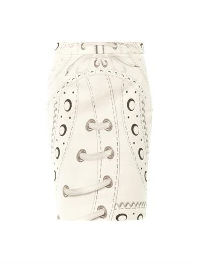 Glacine brogue-print pencil skirt