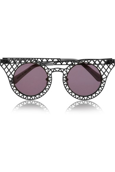 Cagefighters round-frame latticed metal sunglasses