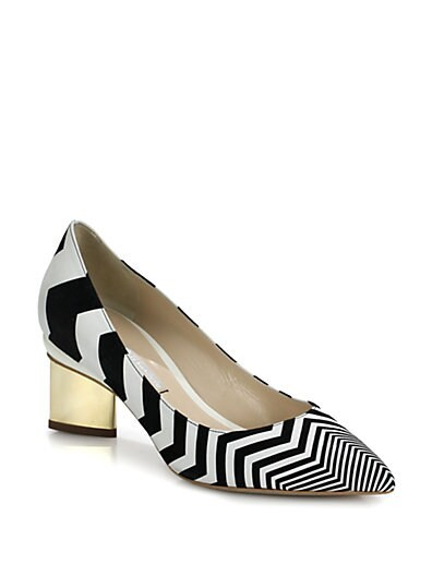 Zig Zag Leather & Suede Pumps