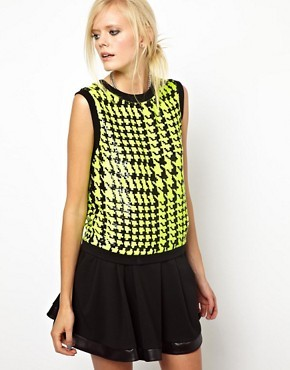 Ashish Neon Sequin Tank with Rib