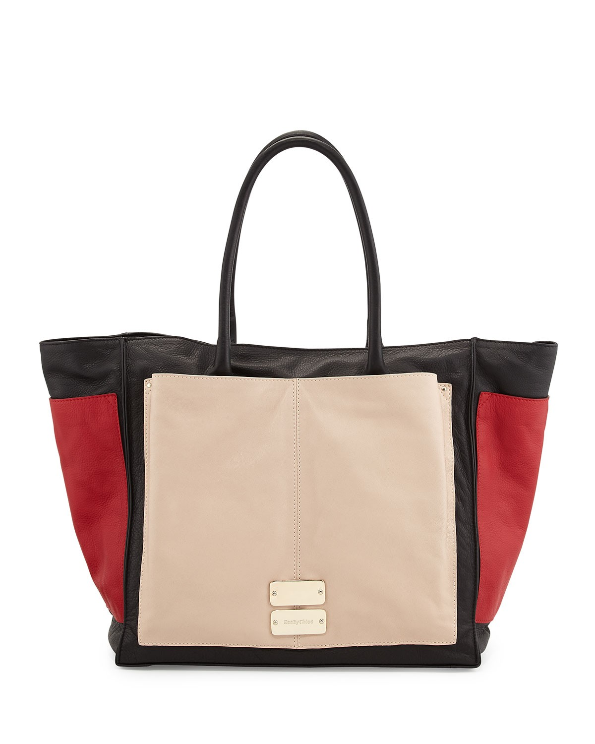 Nellie Large Colorblock Tote Bag, Black/Tango/Pearl - See by Chloe