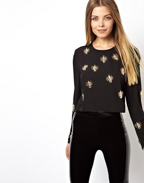 ASOS Top with Open Back and Bug Embellishment