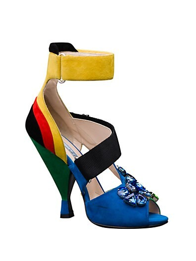 Multicolored Suede Crystal-Detail Sandals