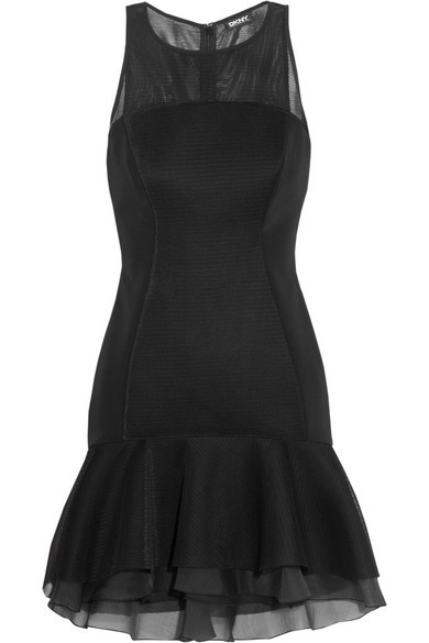 Mesh-paneled scuba mini dress