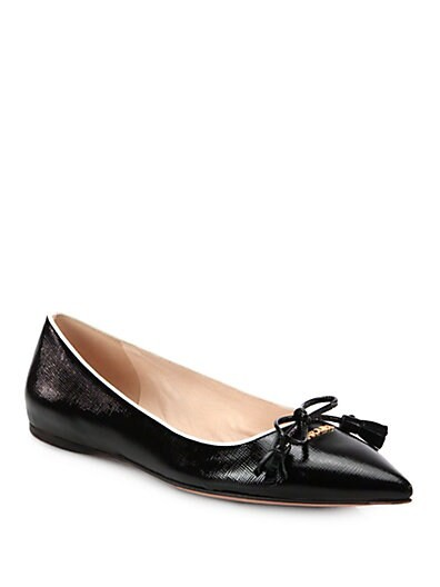 Saffiano Patent Leather Tassel Ballet Flats