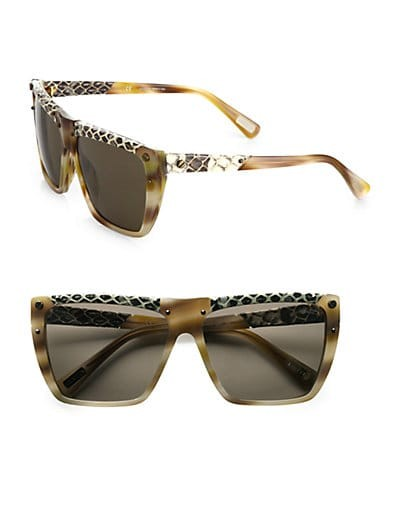 Square Snake-Print Leather-Trim Sunglasses