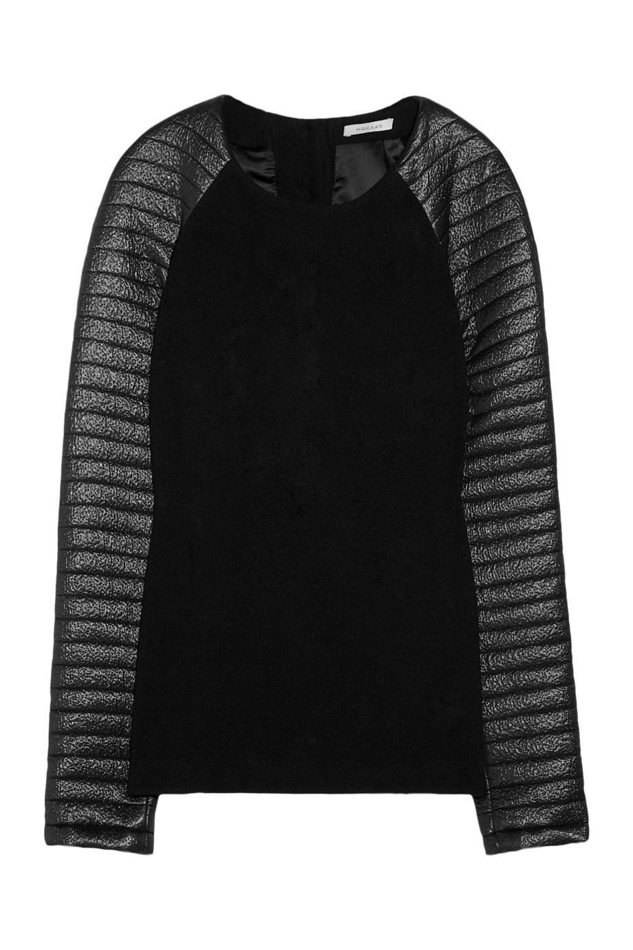 Glam rib-sleeved wool top