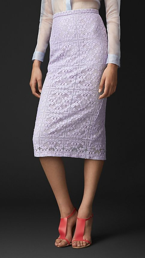 English Floral Lace Pencil Skirt