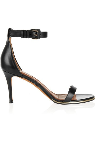 Gold line sandals in black leather