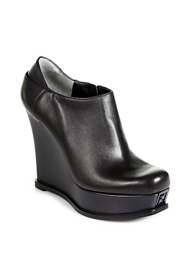 Fendista Leather Wedge Ankle Boots
