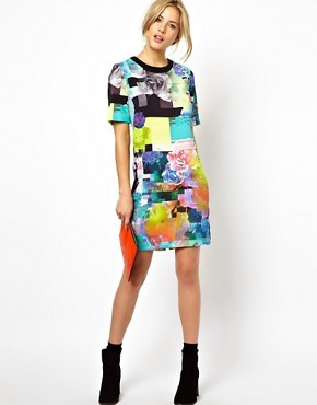 ASOS Bright Digital Floral T-shirt Dress
