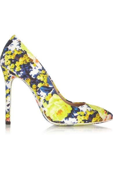 Floral-print canvas pumps