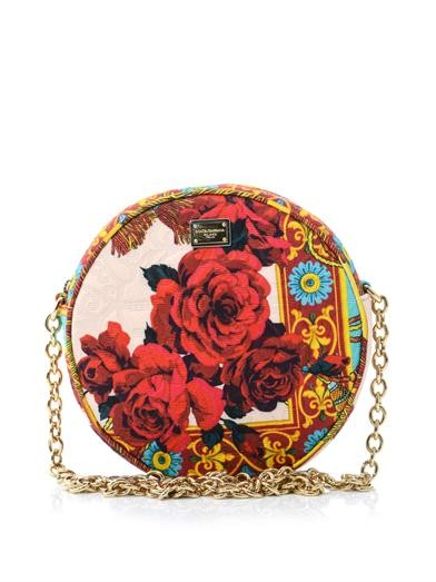 Brocade circular cross-body bag