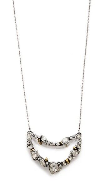 Jagged Edge Crystal Framed Crescent Pendant Necklace