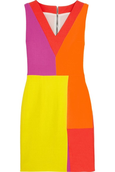 Color-block wool-crepe dress