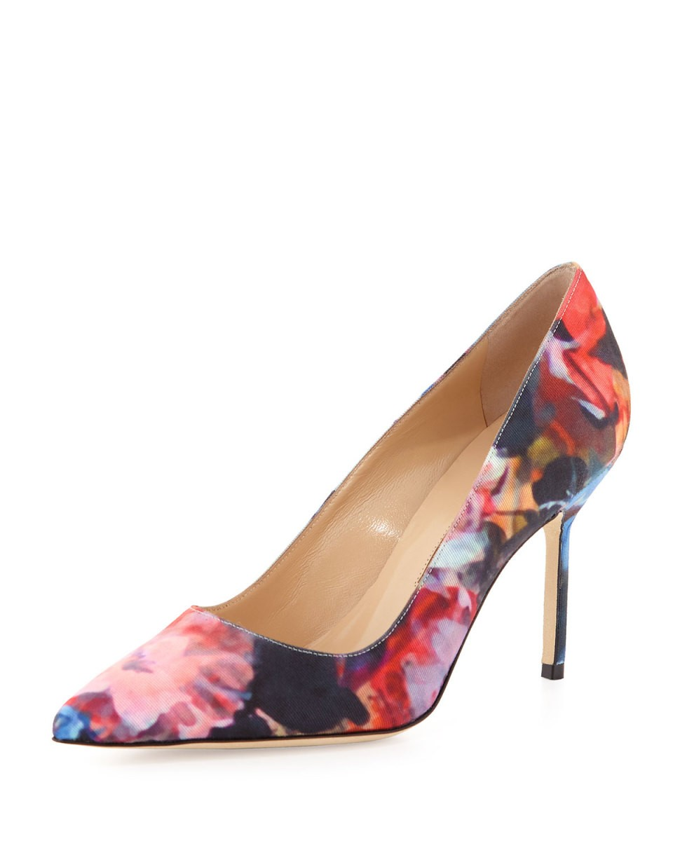 BB Floral-Print Fabric 90mm Pump, Pink/Blue - Manolo Blahnik