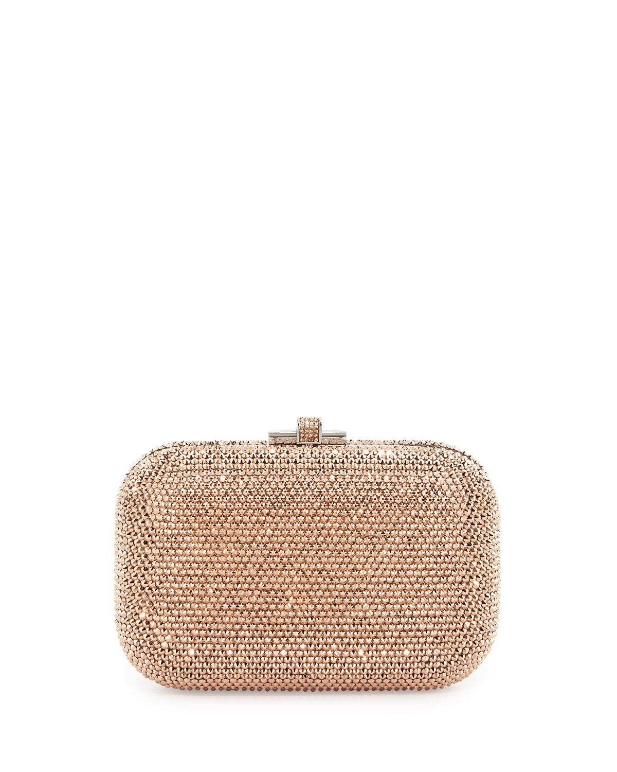 Crystal Slide-Lock Clutch Bag,Silver/Rose Gold - Judith Leiber Couture