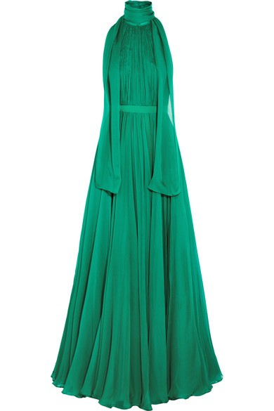 Crinkled silk-chiffon halterneck gown