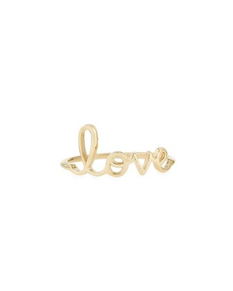 14k Yellow Gold Pure Love Script Ring - Sydney Evan