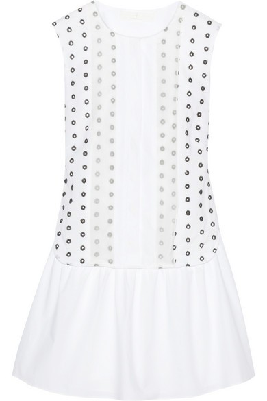 Organza-trimmed eyelet-cotton and poplin dress