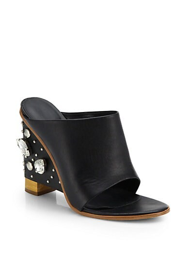 Britt Jeweled Leather Mules