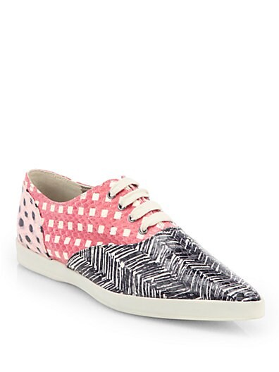 Mixed Print Snakeskin Lace-Up Sneakers
