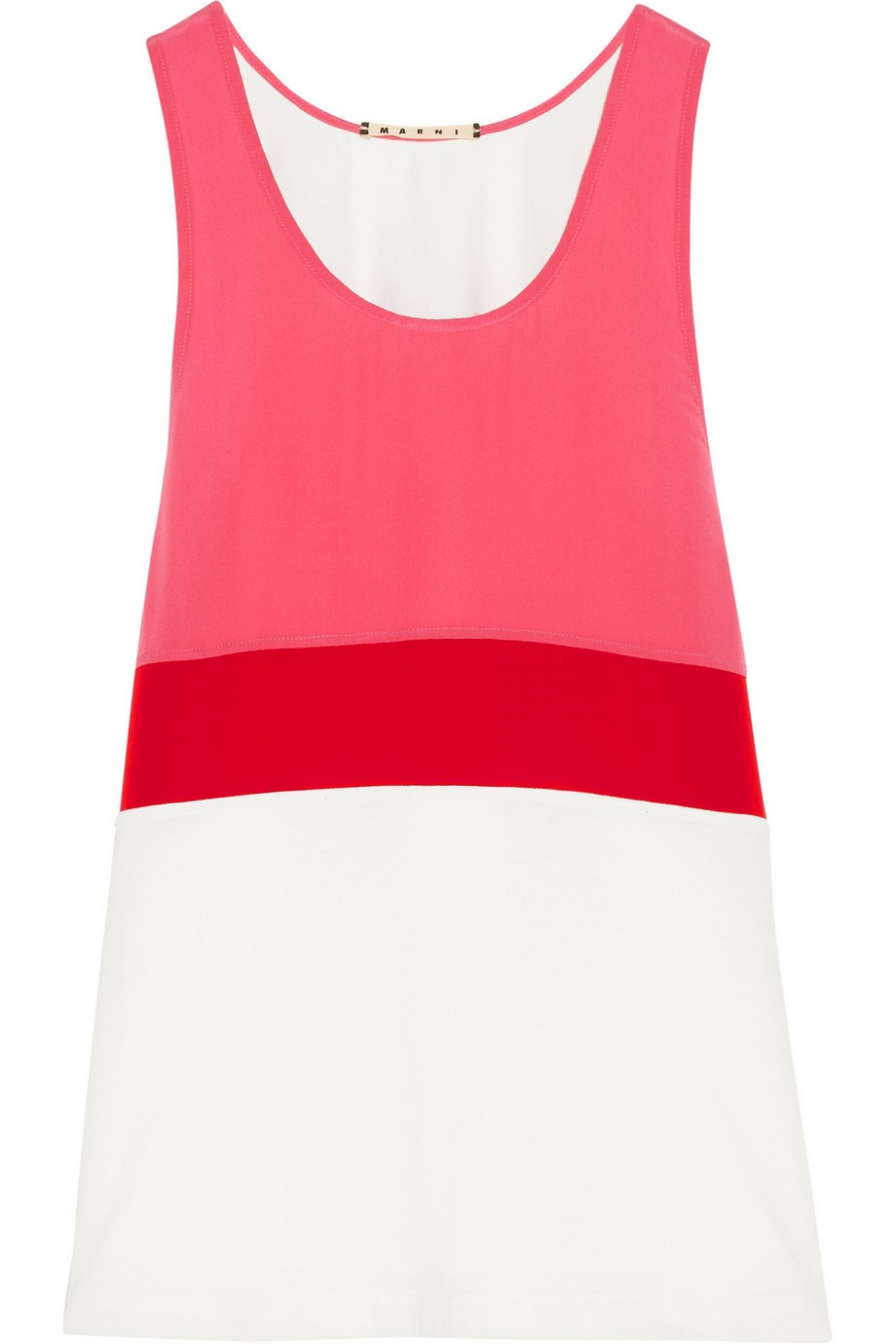 Color-block cotton and silk-blend top