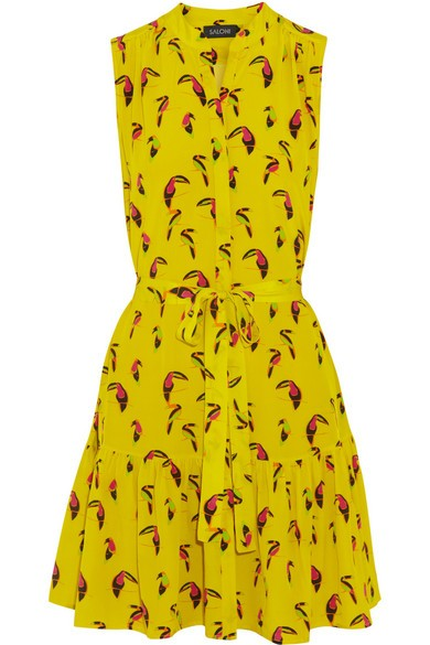 Tilly printed silk-crepe dress