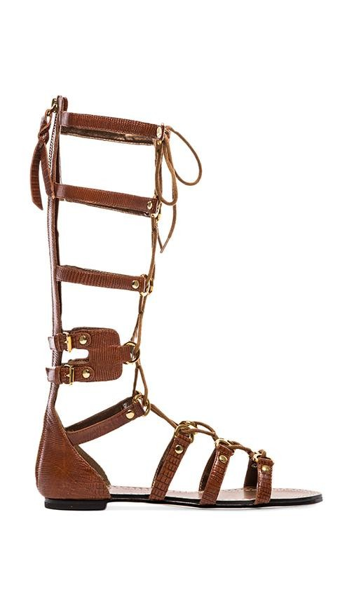 Athena Lace Up Embossed Leather Gladiator Sandal