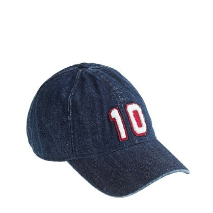 Denim varsity baseball cap