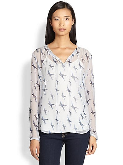 Silk Chiffon Bird-Print Blouse