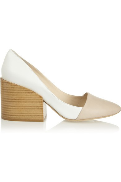 Two-tone leather block-heel pumps