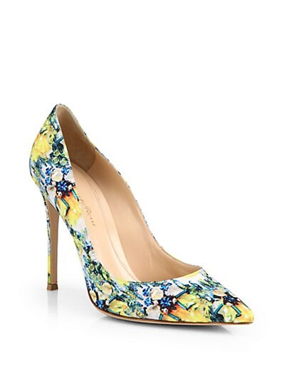 Satin Floral-Print Pumps