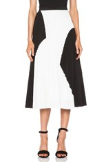 Pleated Poly Skirt in Black & White