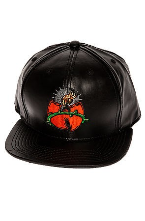 The Holy Wu Vegan Leather Strapback Hat in Black