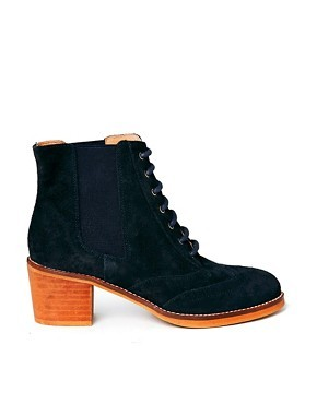 Bertie Pontins Navy Suede Lace Up Ankle Boots