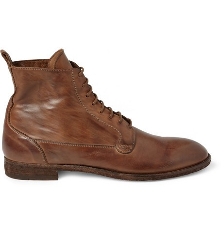 Washed-Leather Lace-Up Boots