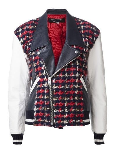 Tweed leather jacket