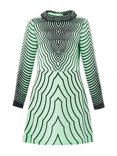 Radio Waves-print crepe dress