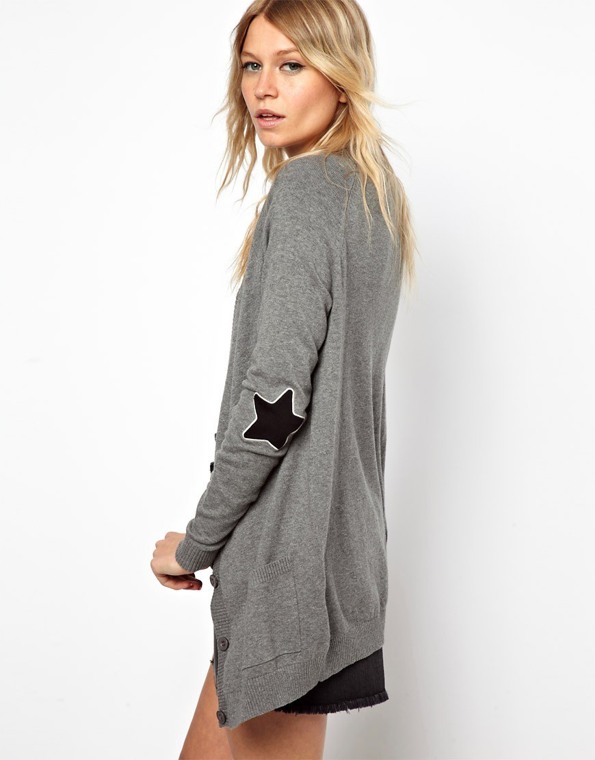 ASOS Boyfriend Cardigan With Star Elbow Patch