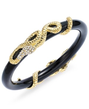 Abs by Allen Schwartz Bracelet, Gold-Tone Pave Crystal Snake Wrapped Black Bangle Bracelet