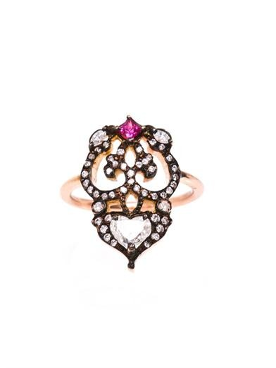 Diamond, ruby and gold relic pinky ring
