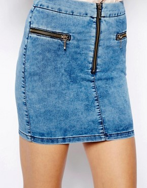 ASOS Denim Skirt with Zips in Acid Wash