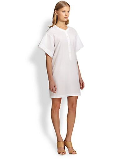 Wide-Sleeved Stretch Cotton Shirtdress